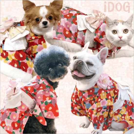 ?iDog 愛犬用姫着物 レトロな雰囲気が可愛い椿柄の豪華な晴れ着