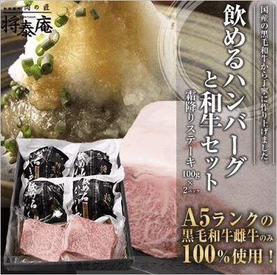 飲めるハンバーグ 4個入り 霜降りステーキ 100g×2セット