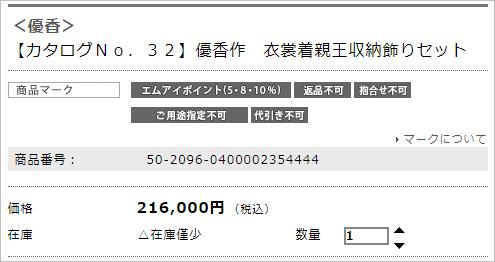 【カタログNo.32】優香作 衣裳着親王収納飾りセット