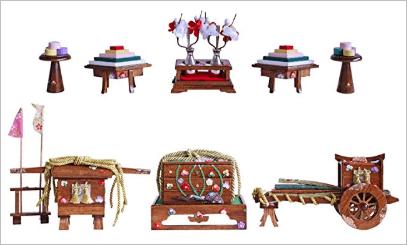 【雛人形の道具単品販売】道具 六点セット 古代塗 金属徳利